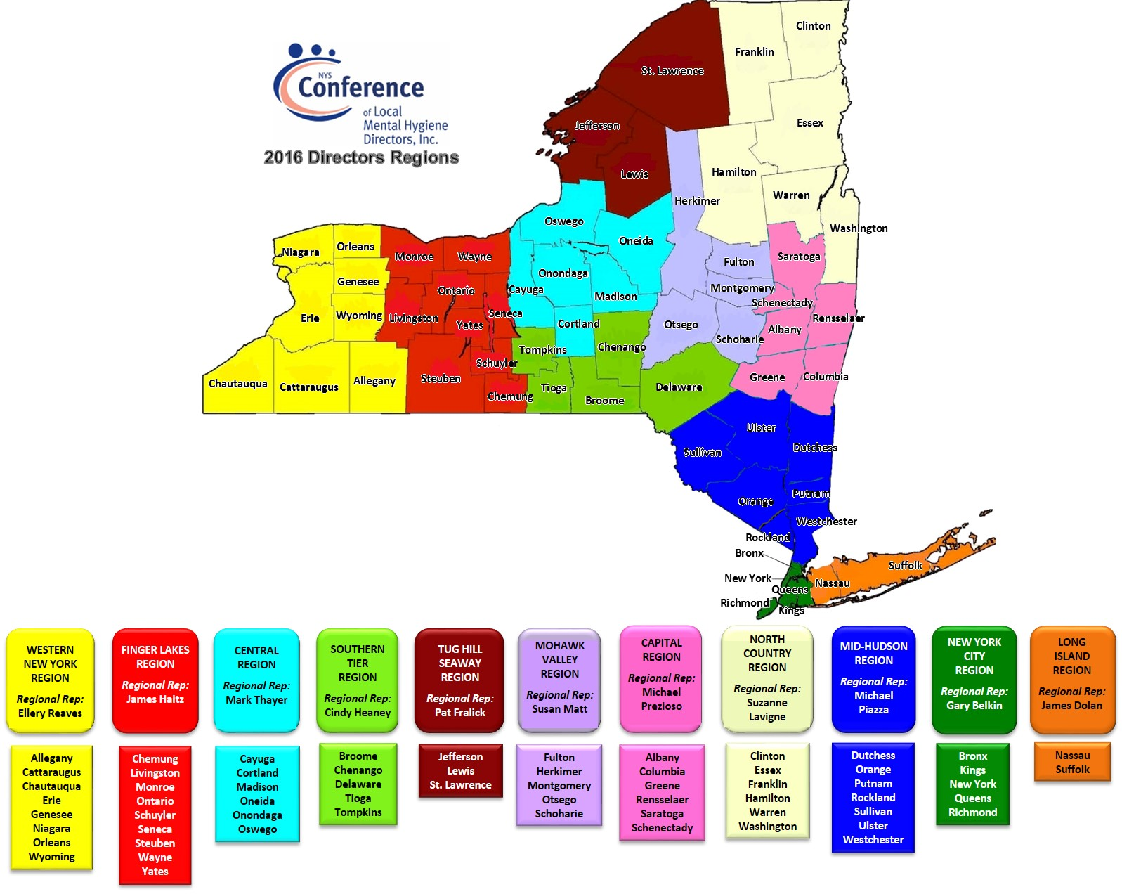 Regional Map NYS Conference of Local Mental Hygiene Directors Inc